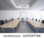 black chairs boardroom interior ... | Shutterstock . vector #1095099788