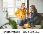 good news. excited lady is... | Shutterstock . vector #1095105662
