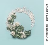 floral wreath made of white... | Shutterstock . vector #1095110405