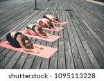 full length females stretching... | Shutterstock . vector #1095113228