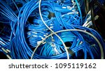 untidy coil of blue lan cable... | Shutterstock . vector #1095119162