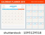 calendar planner for 2019 year. ... | Shutterstock .eps vector #1095129518
