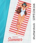 girl sunbathing on a mat near... | Shutterstock .eps vector #1095136166