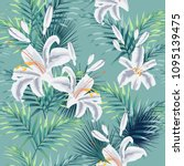 seamless pattern with tropical... | Shutterstock .eps vector #1095139475