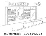 pharmacy store shop exterior... | Shutterstock .eps vector #1095143795