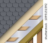 demonstration of install roof... | Shutterstock .eps vector #1095151592