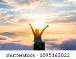 sihouette  women spreading... | Shutterstock . vector #1095163022
