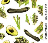 vegetables seamless pattern.  ... | Shutterstock . vector #1095165545