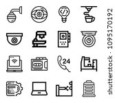 outline set of 16 technology... | Shutterstock .eps vector #1095170192