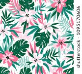 hawaiian seamless pattern with... | Shutterstock .eps vector #1095170606