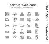 cargo transportation flat line... | Shutterstock .eps vector #1095171488