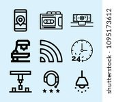outline set of 9 technology... | Shutterstock .eps vector #1095173612