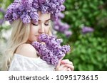beautiful woman with lilac... | Shutterstock . vector #1095173615