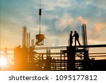 silhouette of engineer and... | Shutterstock . vector #1095177812