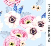 seamless pattern with anemones... | Shutterstock .eps vector #1095178328