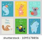 big vector set of funny... | Shutterstock .eps vector #1095178856