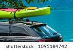 kayak roof rack and the green...   Shutterstock . vector #1095184742
