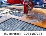 cnc water jet cutting machine... | Shutterstock . vector #1095187175