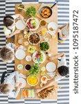 top view on kids eating healthy ... | Shutterstock . vector #1095187472