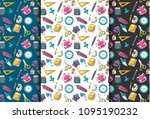 school supplies theme. seamless ... | Shutterstock .eps vector #1095190232