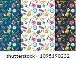 school supplies theme. seamless ... | Shutterstock .eps vector #1095190232