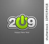 happy new year 2019 text design ... | Shutterstock .eps vector #1095193418