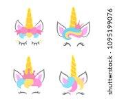 cute unicorn faces. unicorn...   Shutterstock .eps vector #1095199076