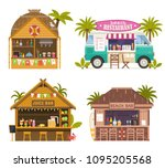 beach juice bars with smoothies ... | Shutterstock .eps vector #1095205568
