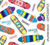skateboard pattern. seamless... | Shutterstock .eps vector #1095206915