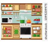 kitchen with a set of furniture.... | Shutterstock .eps vector #1095209975