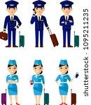 vector illustration of aviation ... | Shutterstock .eps vector #1095211235