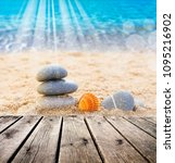 stones in the sand on the beach | Shutterstock . vector #1095216902