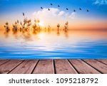 colorful sunset on the lake | Shutterstock . vector #1095218792