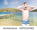 exited little boy with swimming ... | Shutterstock . vector #1095224582