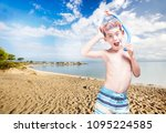 happy little boy with... | Shutterstock . vector #1095224585