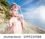 happy little boy with... | Shutterstock . vector #1095224588