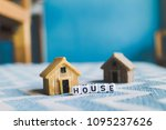 miniature house model with ... | Shutterstock . vector #1095237626