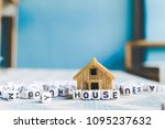 miniature house model with ... | Shutterstock . vector #1095237632