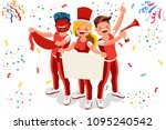 cheering crowd of football fans ... | Shutterstock .eps vector #1095240542