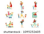 tired parents and their... | Shutterstock .eps vector #1095252605
