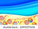 top view parasols   umbrella in ... | Shutterstock .eps vector #1095257636