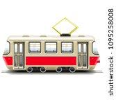 vector red small tram isolated... | Shutterstock .eps vector #1095258008