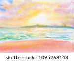 Watercolor Seascape  Sunset An...