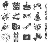 birthday icons and party icons... | Shutterstock .eps vector #1095268898