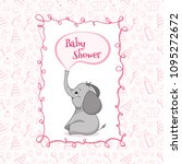 Stock vector baby shower card with cute baby elephant vector illustration 1095272672