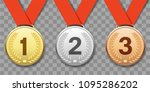 set of gold  silver and bronze... | Shutterstock .eps vector #1095286202