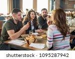 people enjoying nice dinner at... | Shutterstock . vector #1095287942