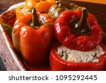 homemade  stuffed peppers. with ... | Shutterstock . vector #1095292445