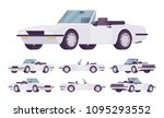 white cabriolet cat set.... | Shutterstock .eps vector #1095293552