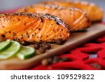 Close Up On Grilled Salmon Wit...
